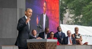 Le président américain Barack Obama à l'inauguration du National Museum of African American History and Culture, le 24 septembre. CRÉDITS : ZACH GIBSON/AFP