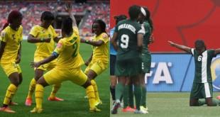 Les équipes de football féminin du Cameroun et du Nigeria, lors de la Coupe du monde 2015 au Canada. © AP/SIPA