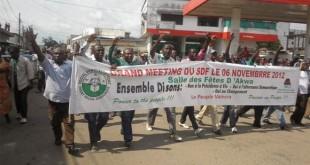 Les militants du SDF lors des manifestations en 2012