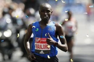 Le Kényan Daniel Wanjiru lors de la course Action Image via Reuters lors du marathon de Londres, le 23 avril 2017.