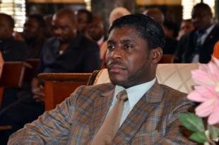 Teodorin Obiang, vice-président de la Guinée équatoriale et fils du président Obiang à la cathédrale de Malabo, le 25 juin 2013. © JEROME LEROY / AFP