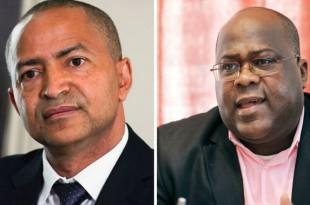 Moïse Katumbi et Félix Tshisekedi. CRÉDITS : THOMAS SAMSON/VIRGINIE LEFOUR/BELGA/AFP En savoir plus sur http://www.lemonde.fr/afrique/article/2017/06/19/moise-katumbi-et-felix-tshisekedi-les-faux-jumeaux-de-l-opposition-congolaise_5147334_3212.html#HjIB3S43bkh7cdXT.99