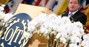 Discours du directeur général de l'Organisation internationale du travail (OIT), le britannique Guy Ryder, lors de la 106e session de la Conférence internationale du travail. A Genève, le lundi 5 juin. LAURENT GILLIERON / AP