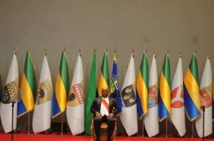 Le président Ali Bongo Ondimba lors de sa prestation de serment à Libreville le 27 septembre 2016. © Jeremi Mba/AP/SIPA