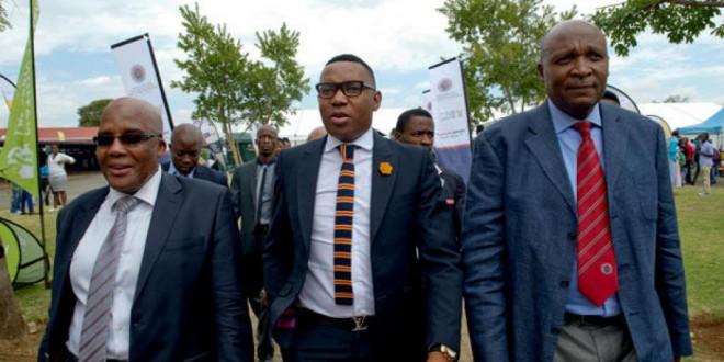 Le vice-ministre de l'Education sud-africain Mduduzi Manana (au centre) le 12 mars 2015 à Soweto. © Gouvernement sud-africain