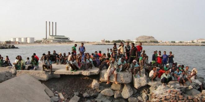 Des migrants illégaux en attente d'une reconduite vers la Somalie, en septembre 2016 à Aden, ville portuaire dans le sud du Yémen. © SALEH AL-OBEIDI / AFP