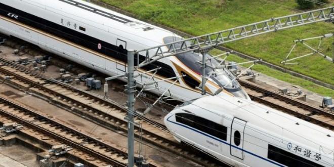 Le train à grande vitesse de la ligne Pékin-Shanghai, à Nankin dans l'est de la Chine, le 21 septembre 2017