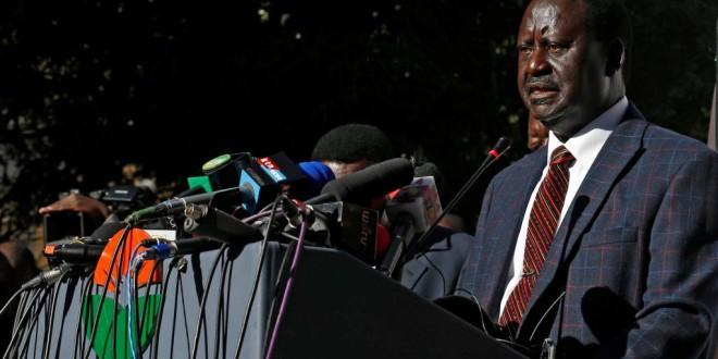 Raila Odinga, candidat battu à la présidentielle au Kenya, lors de sa conférence de presse à Nairobi, ce mercredi 16 août. © REUTERS/Thomas Mukoya