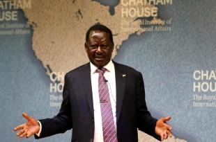 L'opposant kényan Raila Odinga lors d'une conférence à Londres à la Chatham House, le 13 octobre 2017. © REUTERS/Peter Nicholls