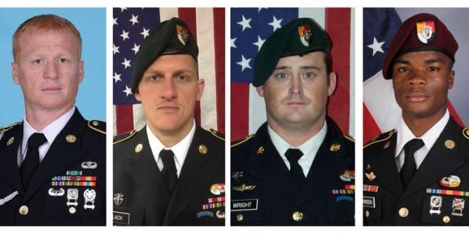 Les quatre soldats américains tués dans une embuscade au Niger, le 4 octobre 2017. De gauche à droite, Jeremiah Johnson, Bryan Black, Dustin Wright et La David Johnson. CRÉDITS : REUTERS En savoir plus sur http://www.lemonde.fr/afrique/article/2017/10/20/que-font-les-forces-speciales-americaines-en-afrique_5203625_3212.html#reSK7iLjSA81CSGr.99