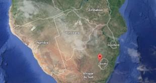 © Google Maps Les empreintes ont été découvertes dans l'ouest du Lesotho.