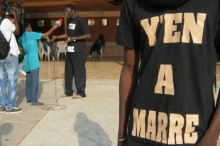 Des membres du collectif de la société civile sénégalaise «Y'en a marre», en 2011. © RFI / Laurent Correau