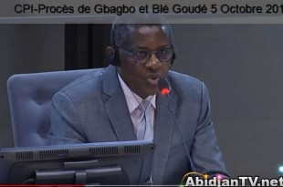 Philippe Mangou devant la CPI à La Haye, le 5 octobre 2017. © Capture d'écran AbidjanTV.net
