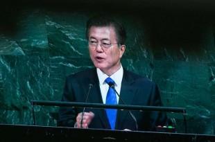 © AFP Le président sud-coréen Moon Jae-in à la tribune de l'ONU en septembre 2017.