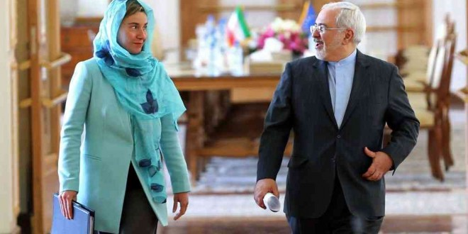 Federica Mogherini et Mohammad Javad Zarif, Téhéran, Iran, le 16 avril 2016.