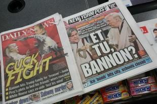 © Richard B. Levine/NEWSCOM/SIPA Les gros titres des tabloïds new-yorkais le 4 janvier étaient consacrés aux propos de Stephen Bannon sur le fils de Donald Trump, l'accusant de trahison.