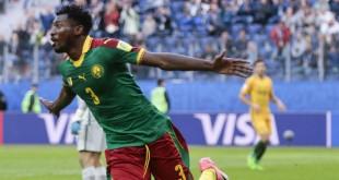 Le Camerounais Andre Frank Zambo Anguissa, lors du match face à l'Autralie, en Russie, le 22 juin 2017. © Ivan Sekretarev/AP/SIPA