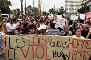 © STRINGER / AFP | Manifestation à Casablanca, en août 2017, contre l'agression d'une femme dans un bus.