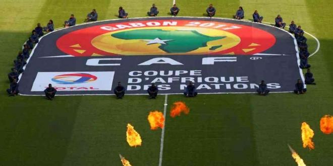 Le logo de la CAF lors de la cérémonie d'ouverture de la CAN 2017 au stade de Franceville, Gabon, 14 janvier 2017.