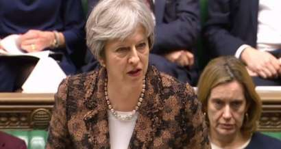 © Copyright 2018, L'Obs Theresa May au parlement le 12 mars 2018.