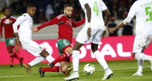 L'équipe de football marocaine affronte la Mauritanie, le 13 janvier 2018. © Abdeljalil Bounhar/AP/SIPA