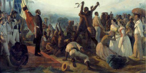 27 avril 1848, abolition de l'esclavage dans les colonies françaises. © Peinture de François Auguste Biard - Photo Josse/Leemage