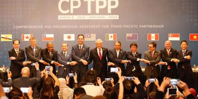 Les représentants des pays membres du nouvel accord commercial du Partenariat transpacifique (TPP)