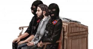 Une caricature de Salah Abdeslam, au centre, au milieu de deux policiers lors de son procès au Palais de justice de Bruxelles, en Belgique, le 5 février 2018.