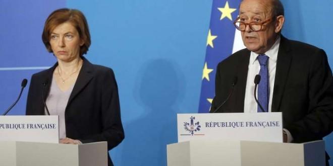© Michel Euler-POOL/SIPA Florence Parly et Jean-Yves Le Drian le 14 avril 2018 à paris, après les frappes de la coalition occidentale en Syrie.