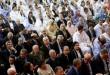 Des membres de partis politiques marocains lors de la rencontre du 9 avril 2018 à Laayoune pour protester contre les incursions du Polisario dans la zone tampon. © Abdeljalil Bounhar/AP/SIPA