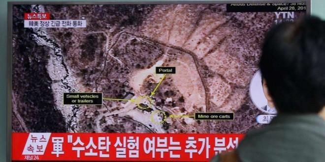 La Corée du Nord a effectué cinq essais nucléaires sur son site de Punggye-ri, objet d'un reportage de la télévision nord-coréenne à Séoul, 26 septembre 2016.