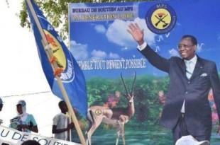 Une affiche du président Idriss Déby à N'Djamena lors de la campagne présidentielle de 2016 © ISSOUF SANOGO / AFP