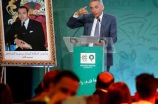 Le président du comité marocain pour l'organisation du Mondial 2026, Moulay Hafid Elalamy, en conférence de presse le 20 avril 2018. © Abdeljalil Bounhar/AP/SIPA