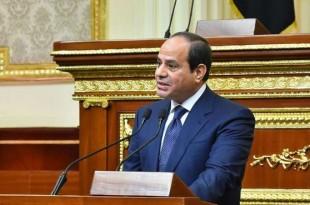 © Présidence égyptienne, AFP Abdel Fattah al-Sissi, samedi 2 juin, prononçant devant le Parlement le discours d'investiture de son second mandat.
