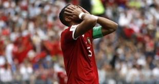 Le défenseur marocain Medhi Benatia regrette une occasion raté, le 20 juin 2018 à Moscou. © Francisco Seco/AP/SIPA