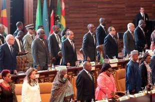 Une partie des dirigeants africains présents au 31e sommet de l'UA à Nouakchott, le 1er juillet 2018. © Ahmed OULD MOHAMED OULD ELHADJ / AFP