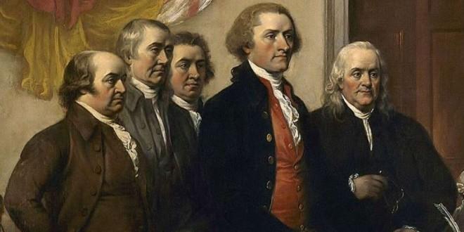 Le Comité des Cinq présente leur travail, le premier projet de la Déclaration d'Indépendance, en juin 1776. Peinture de John Trumbull,1819 .