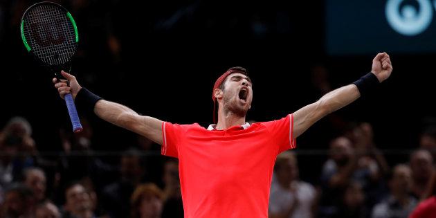 Tennis - ATP 1000 - Paris Masters - AccorHotels Arena, Paris, France - November 4, 2018  Russia's Karen Khachanov celebrates after winning the final against Serbia's Novak Djokovic   REUTERS/Gonzalo Fuentes